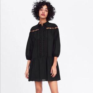 NWT zara black button dress more vivid black irl